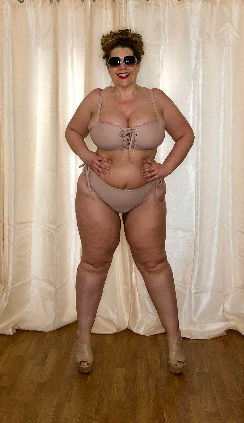 Forever 21+ Swimwear 2018: Plus Size Lace-Up Bikini Top and High-Waist Bikini Bottoms in Rose