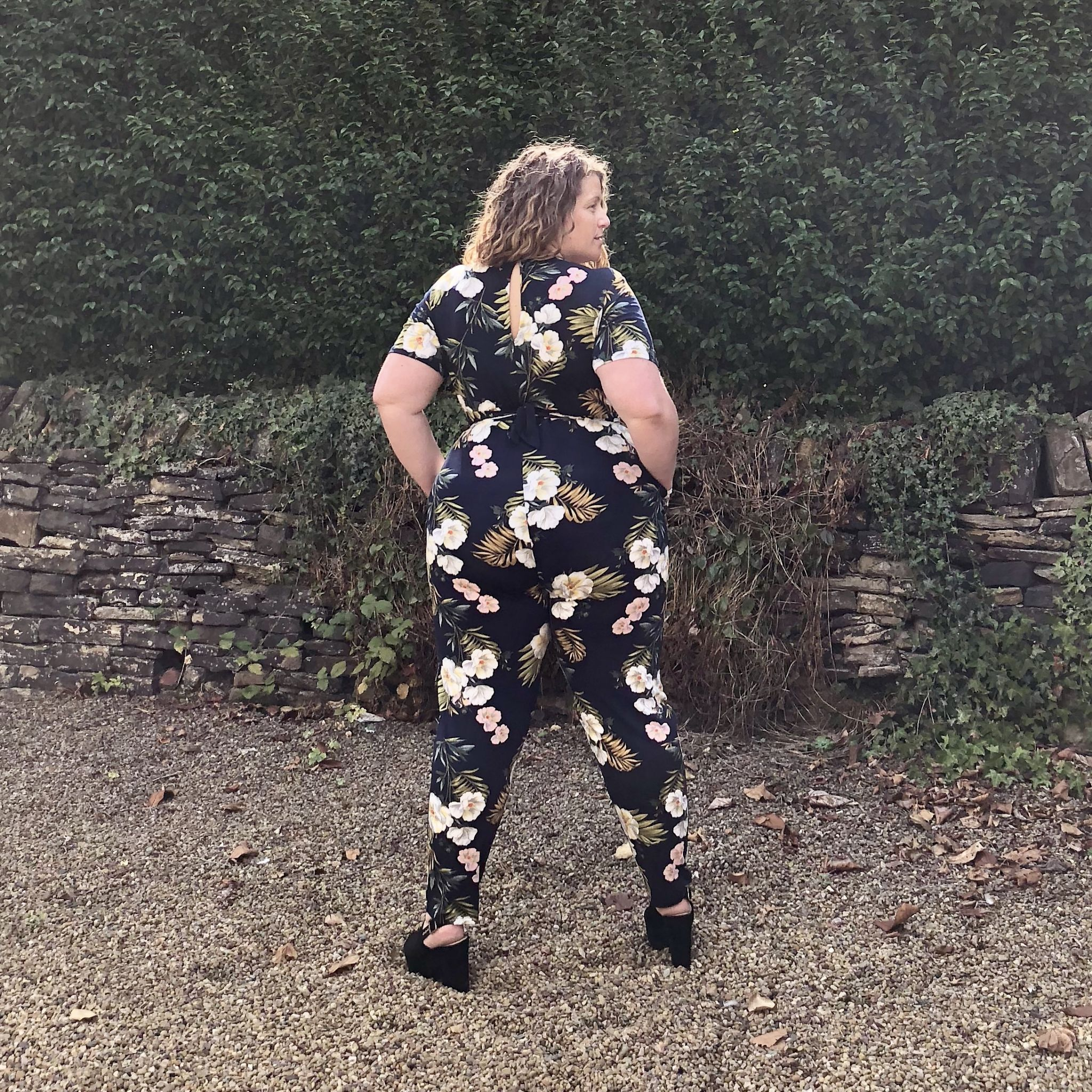 Oasis Curve Floral Palm Tie Front Jumpsuit